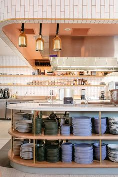 Jeune et Jolie Lewis Range Brick Kitchen Commercial Kitchen Design, Kitchen Bar Design, Commercial Interiors, Open Kitchen Restaurant, Cafe Restaurant, Atrium Restaurant, Small Restaurant Design, Fireclay Tile, Boutique Interior