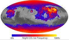This map shows the frequency of carbon dioxide frost's presence at sunrise on Mars, as a percentage of days year-round. Carbon dioxide ice more often covers the ground at night in some mid-latitude regions than in polar regions, where it is generally absent for much of summer and fall.