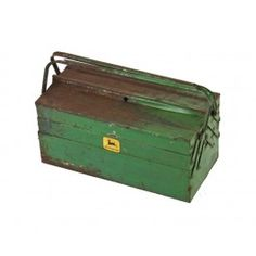 """vintage american industrial heavy gauge riveted joint steel """"john deere"""" cantilevered tool box with weathered green paint finish."""