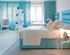 stunning blue & white girls room
