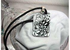 Black & White Zentangle® art Tile Shell Necklace -  Hand Drawn Zentangle Art - BoTangles on Etsy, $25.00