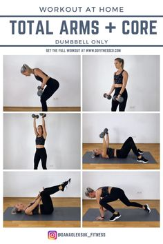 Arm Workouts At Home, Fun Workouts, At Home Tricep Workout, Upper Body Home Workout, Full Arm Workout, Upper Body Dumbbell Workout, Upper Body Hiit Workouts, Exercise Cardio, Week Workout
