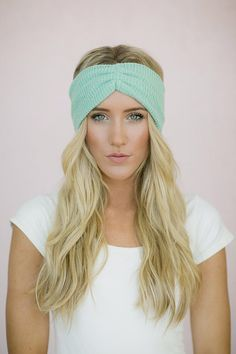 Mint Thermal Knit Headband Hair Turban - Ruched Knitted Headband for Women