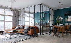 Soveværelse med glasvægge
