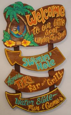 Tiki Bar Signs, Pool Signs, Beach Signs, Tropical Decor, Coastal Decor, Beach Crafts, Diy And Crafts, Deco Surf, Pool House Decor