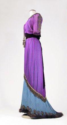 Bohemian Iridescent Purple Chiffon Tea Gown   French, early 20th century.