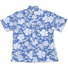 Royal Pineapple Blue Hawaiian Reverse Shirt #hawaiian #madeinhawaii