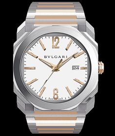 Bulgari Octo Solotempo. 18 karat rose gold and stainless steel with silvered opaline dial. Available at Cellini Jewelers New York City