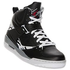 Men's Jordan Flight 45 High Basketball Shoes | FinishLine.com | Black/Gym Red/Cement Grey