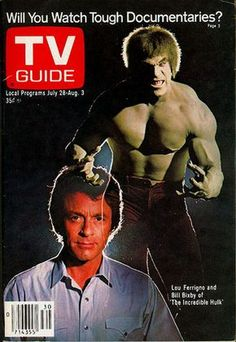 The Hulk (Lou Ferrigno) & David Banner (Bill Bixby) on the cover of a late edition of Tv Guide. 1970s Tv Shows, Old Tv Shows, The Incredible Hulk 1978, Incredible Cartoon, Marvel Comics, Mejores Series Tv, Nostalgia, Vintage Tv, Tv Guide