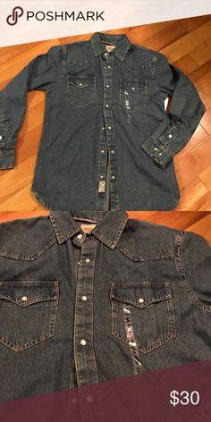 Levi's Man Jean Shirt Man's jean shirt. Size S. Nice alone or with teeshirt. New without price tag. My son got it and never wore it. Levi's Shirts