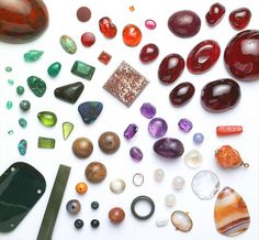 A selection of gems from the Cheapside hoard, which contains an array of precious and semi-precious gems from many parts of the world and provides evidence of trade networks and European global conquest in the Elizabethan and Jacobean period 1501-1625 AD