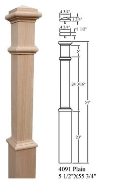 Red Oak & Primed White Newel Posts- Posts for stairs Oak Newel Post, Stair Newel Post, Stair Posts, Newel Posts, Staircase Railing Design, Iron Stair Railing, Hand Railing, Oak Handrail, Wrought Iron Stairs