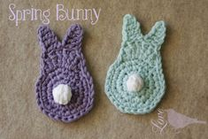 Crochet bunny Love The Blue Bird: Spring Bunny Tutorial. Holiday Crochet Patterns, Crochet Bunny Pattern, Easter Crochet Patterns, Love Crochet, Crochet Flowers, Double Crochet, Single Crochet, Crochet Bunting Free Pattern, Potholder Patterns