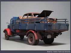 """Glossy and rusty"" ZVEZDA 1/35 scale, German Mercedes L4500 truck. By Vladimir YAshin aka Genscher. #model_cars #scale_model"