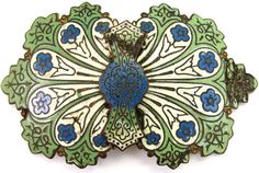 ANTIQUE VICTORIAN ORNATE GREEN CHAMPLEVE ENAMEL DRESS BUCKLE FRENCH RUSSIAN