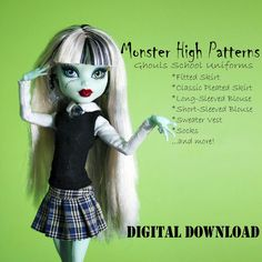 School Uniform doll clothes pattern for Monster High by DGRequiem