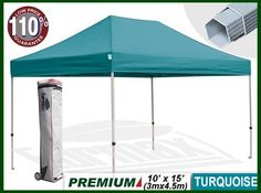 """New Eurmax Premium Ez up Canopy with Wheeled Bag(15x10feet, Turquoise) by eurmax. $399.95. Super wheeled bag with 4.7""""  wheel,The best in the market, easy to handle even on rough ground. This 10' x 15' instant shelter canopy with adjustable legs sets up in seconds. It is ideal for commercial or recreational use (small business, craft shows, tailgate parties, picnics, camping, outdoor sporting events). The commercial grade DuraLast top provides 99% UV protection and is wa..."""