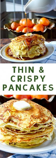 This thin pancake recipe yields soft, thin pancakes with crispy edges. Still fluffy inside, you can easily eat a whole stack of these! | @gogogogourmet via @gogogogourmet