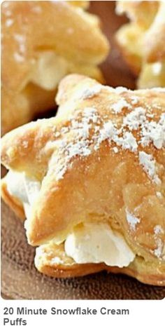 This Cream Puff Recipe only takes 20 minutes to make! Flaky pastry crust and real whipped cream makes these Cream Puffs a guaranteed crowd pleaser! Pastry Recipes, Baking Recipes, Cookie Recipes, Dessert Recipes, Just Desserts, Delicious Desserts, Yummy Food, Christmas Cooking, Christmas Desserts