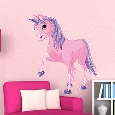 Original diseño de un unicornio en tonalidades rosas y moradas que podrás colocar en tu pared. Un vinilo que inspira fantasía.