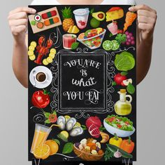 "Chalkboard Kitchen-Healthy food-Fruit-Vegetable-Fresh-Salads-Juice-Sea food-Healthy eating-Diet-You are is what you eat-Print 8.5x11"" No.682"