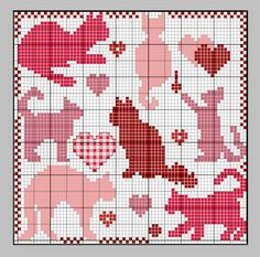 Cats free PATTERN chart beads or cross x stitch
