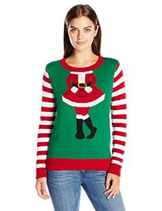 7405b8ca2bc Ugly Christmas Sweater Women s Mrs Claus Head Shot Crew neck with striped  long sleeves Fits true to size Be the hit of the Christmas party
