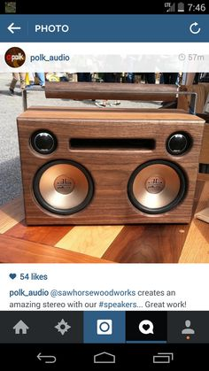 Custom Wooden Boombox by SawhorseWoodworks on Etsy Home Speakers, Built In Speakers, Stereo Speakers, Bluetooth Speakers, Radios, Diy Boombox, Diy Arcade Cabinet, Led Closet Light, Component Speakers