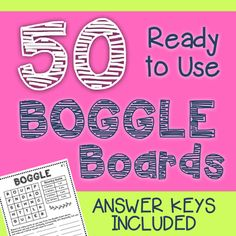 BOGGLE Boards with Answer Keys: 50 ready to use Boggle boards - just print and go!I have included an answer key for each board, so students can independently check their work. Every board has more than words (most have Word Study, Word Work, 5th Grade Classroom, Classroom Ideas, Teaching Schools, 4th Grade Reading, Reading Intervention, Spelling Words
