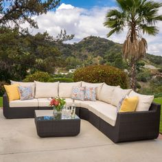 Carmel Outdoor 7-piece Outdoor Sectional Sofa Set with Cushions by Christopher Knight Home (Brown with Beige), Size 7-Piece Sets, Patio Furniture (Fabric)
