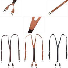 New Mens Womens Genuine Leather Elastic Suspenders Y-Back Adjustable Clip Braces #springsummerfallwinter