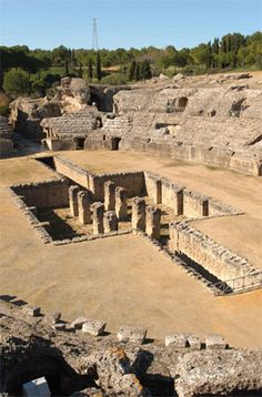 Archaeological site of Italica, the city of Trajan and Hadrian, Roman emperors born in Hispania. Very close to Seville, Spain