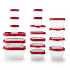 Rubbermaid 34pc Plastic Food Storage Container Set, Red Clear Spice Rack Storage, Wall Mounted Spice Rack, Spice Drawer, Meal Prep Containers, Food Storage Containers, Plastic Food Containers, Plastic Kitchen Cabinets, Kitchen Tray, Rooster Kitchen