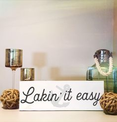 Lakin' It Easy Lake house Sign - Hand painted, Wood Sign A personal favorite from my Etsy shop www. Lake House Signs, Cottage Signs, Lake Signs, Lake Decor, Lake Cabins, Lake Cottage, Shops, Easy Home Decor, Lake Life