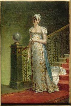 Portrait of Caroline Murat descending the staircase of Élysée Palace by Francois Gerard, 1810
