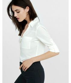Slim Fit Convertible Sleeve Portofino Shirt White Women's XX Small