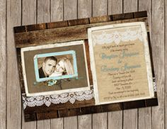 Wedding Invitation ,Rustic, Wood and Lace, Vintage Frame, Digital file, Printable on Etsy, $15.00