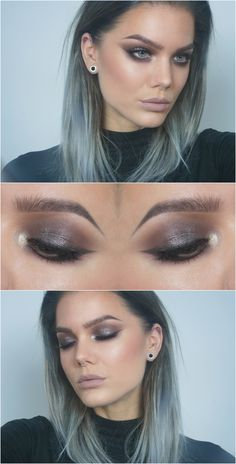 grey / taupe smokey eye w/ silver shimmer & a liner that blends seamlessly in. nude lips. @lindahallbergs   linda hallberg #makeup