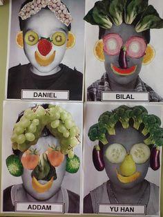 Els vegetals fent un autoretrat. L'art Du Fruit, Fruit Art, Giuseppe Arcimboldo, Classe D'art, Art For Kids, Crafts For Kids, Jr Art, Ecole Art, Preschool Art