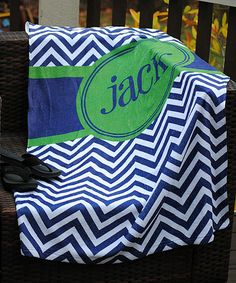 Look what I found on #zulily! Blue & Green Zigzag Personalized Beach Towel #zulilyfinds
