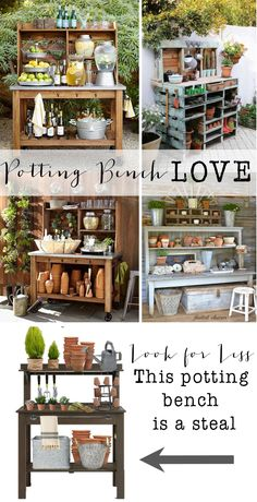 Potting Bench Love- look for less.  I am sharing my love of cute potting benches.  Los of inspiration pictures and ideas.  Plus how to get a potting bench for a steal of a deal!!  These also make great drink stations if you are not into gardening