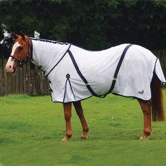 White//Navy Bridleway Fly Sheet Horse Rug