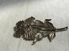 Vintage Sterling Silver Operculum Flower Brooch by lauraab51, $55.00