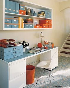 Colored storage boxes bring organization as well as a dose of color to any space.