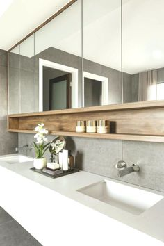 17 Small Toilet Concepts & Design your Inspiration [TREND for bathroom vanity double sinks 17 small bathroom ideas design your inspiration trend 2019 Farmhouse Bathroom Mirrors, Bathroom Mirror Design, Modern Bathroom Design, Bathroom Interior Design, White Bathroom, Small Bathroom, Bathroom Ideas, Bathroom Storage, Bath Design