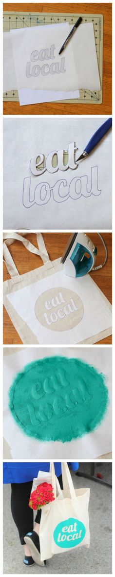 DIY ~ Freezer Paper Stencil!! @Sarah Chintomby Williams we should TOTALLY do this for Farmers market bags!!