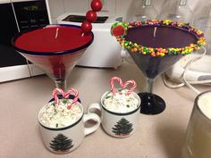 Red gumball martini & purple nerds martini with 2 hot coco cups . All made from candle