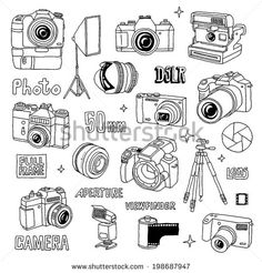 Find Hand Drawn Photo Cameras Set 1 stock images in HD and millions of other royalty-free stock photos, illustrations and vectors in the Shutterstock collection. Thousands of new, high-quality pictures added every day. Camera Illustration, Photography Illustration, Typography Poster, Graphic Design Typography, Camera Doodle, Photo Bleu, Camera Wallpaper, Camera Photos, Camera Drawing