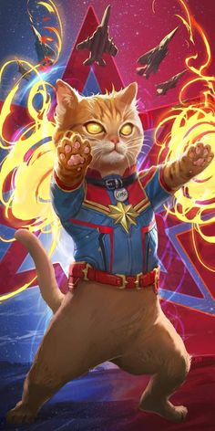 Captain Marvel Cat IPhone Wallpaper #captainmarvel #CatWallpaper
